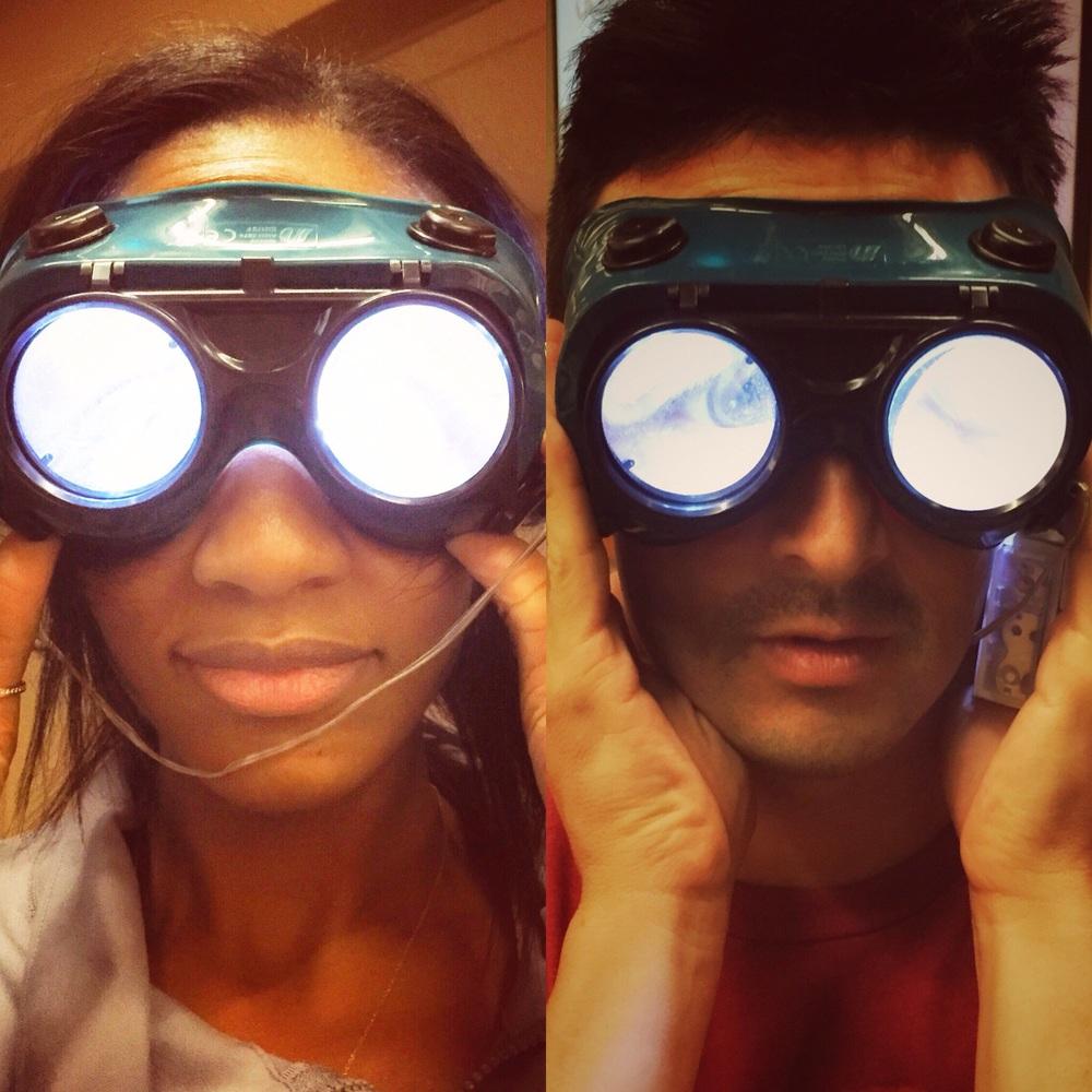 Randal and Gabi rocking the goggles.