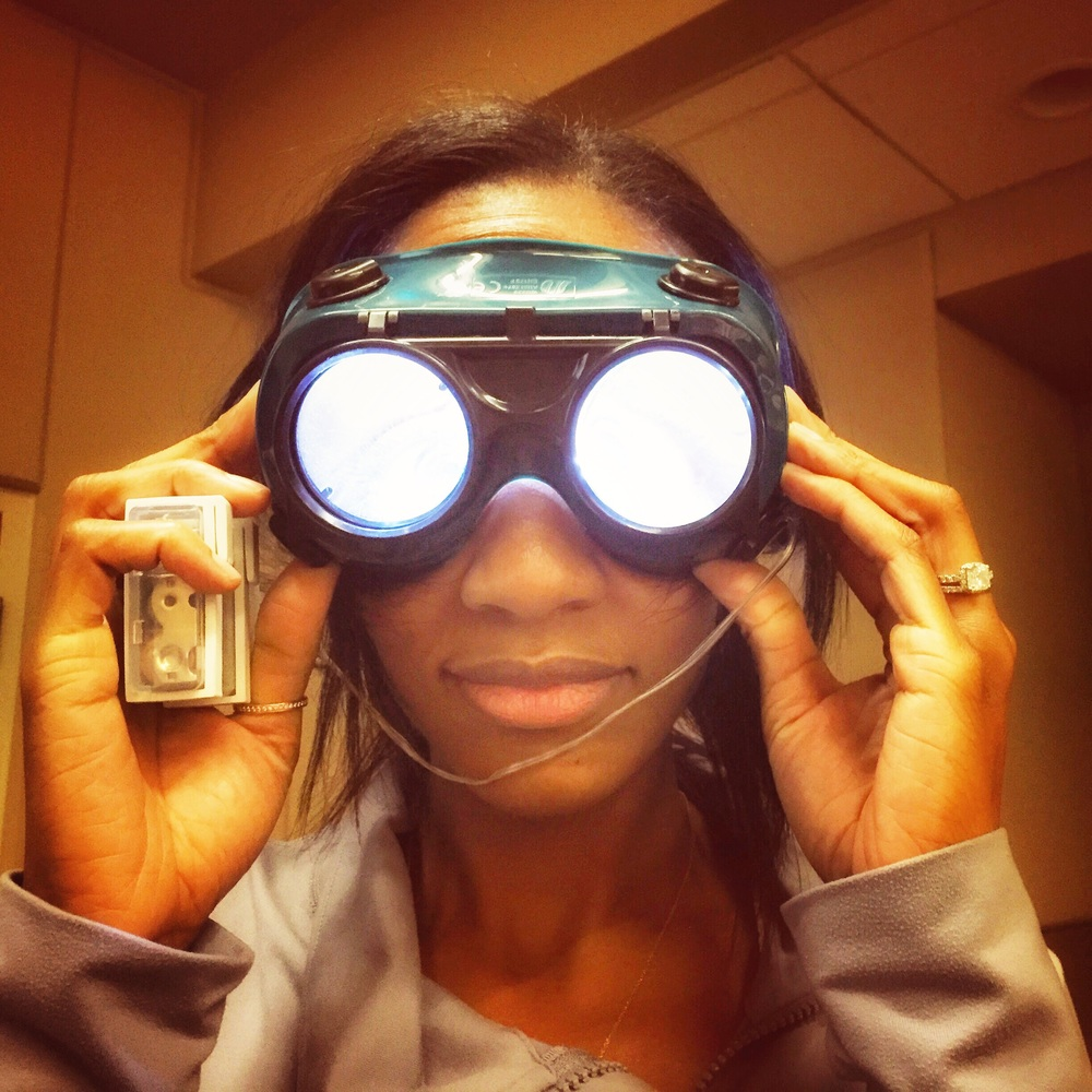 Gabi trying on the Frenzle goggles.