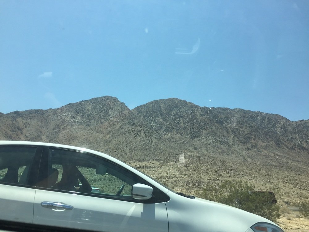 Driving through the desert on the way to Vegas.