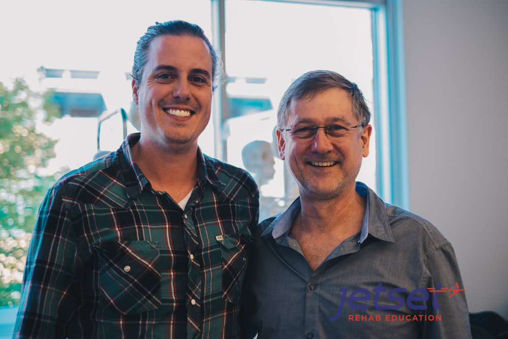 "Andre ""The Great"" Chavez with  Michael Shacklock .  Andre teaches for Movement Links and helps Jetset Rehab Education organize continuing education courses for Chiropractors, Athletic Trainers and Physical Therapists.  He and the Jetset Rehab team collaborated on a  case study which was published in JOSPT ."