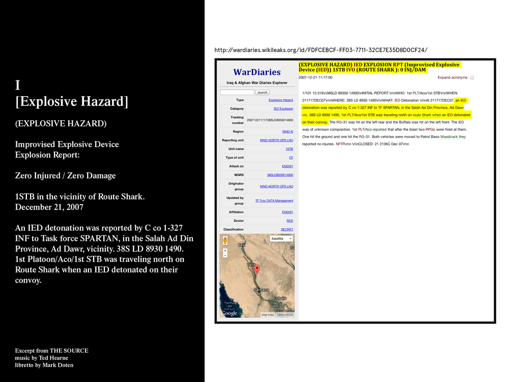 from movement 1: [EXPLOSIVE HAZARD] This text is drawn from the Iraq War Logs and describes an incident that occurred on December 21, 2007.
