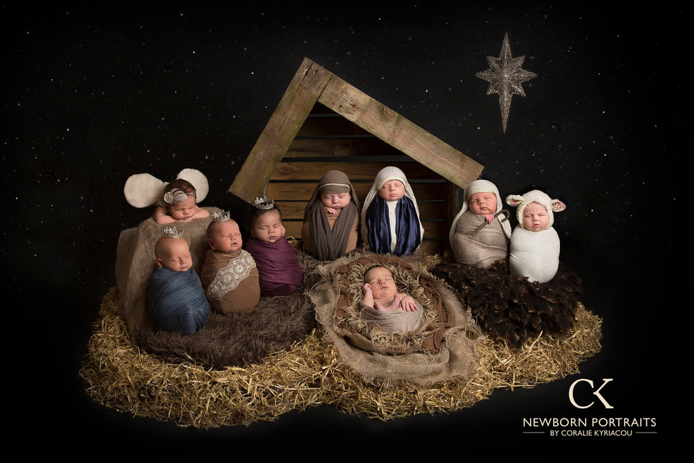Introducing my beautiful Models:  Chrysanthi and Loizos as Mary and Joseph and Elliott as baby Jesus. Zenon, Connor and Lincoln as the Three kings, Louis as the Shepherd, Hallie as the little Lamb and Joanie as the Angel.