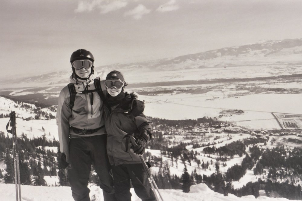 Just another day as a ski-bum in 2005 with my future husband.