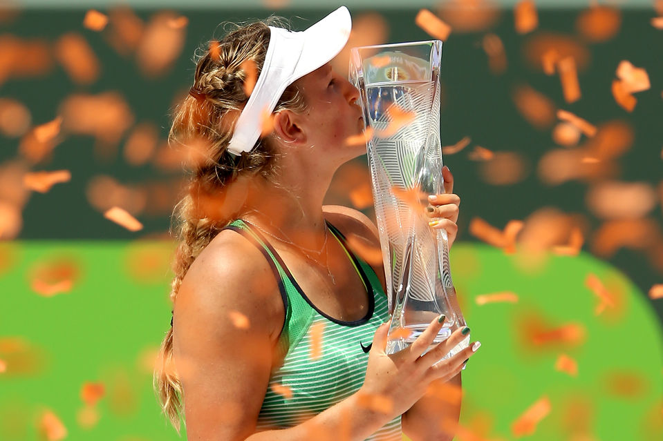 Victoria Azarenka 2016 women's winner. (AP Photo/Alan Diaz)