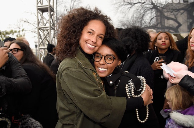 Alicia Keys (musician) and Janelle Monae (musician and actress) - (image by Kevin Mazur)