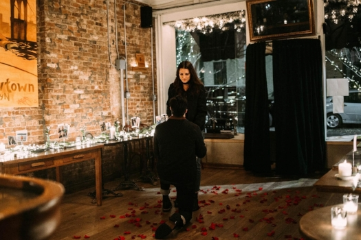 A snap from our clients Mathew Salavitch + Alexandra Rollis who got engaged over the holidays at Iris Cafe in Brooklyn. Photography: Mia Lile Photography. Event Design: Willow & Wine.