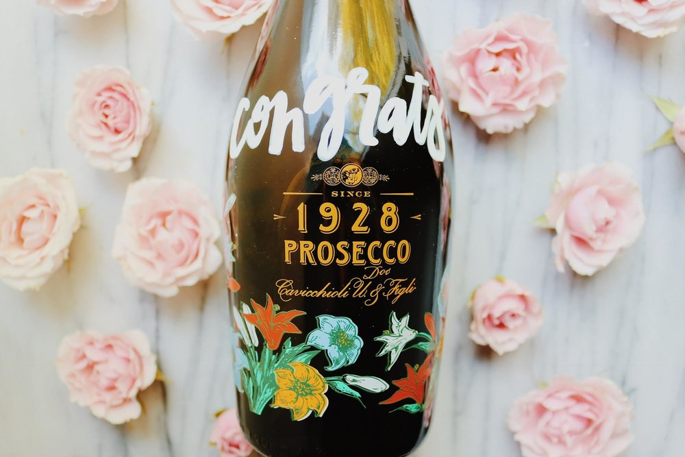 Gift Ideas For Your Newly Engaged Best Friend: Champagne with Custom Calligraphy