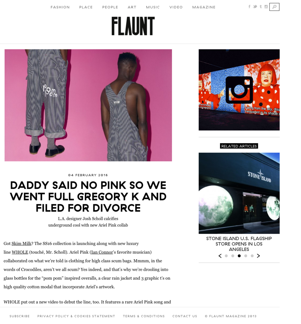 Flaunt Magazine w/ Ariel Pink X Whole