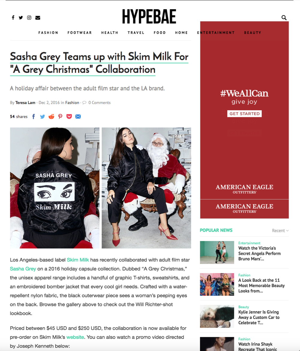 Sasha Grey X Skim Milk on Hypebae