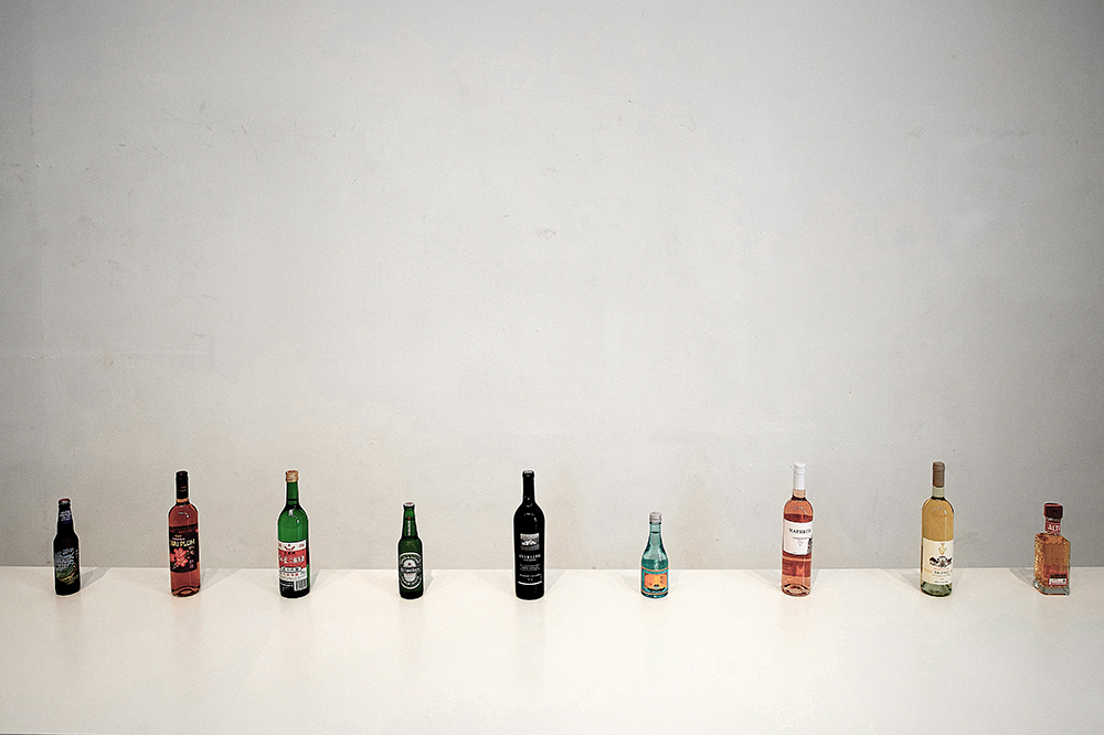 Alcohols served in the performance