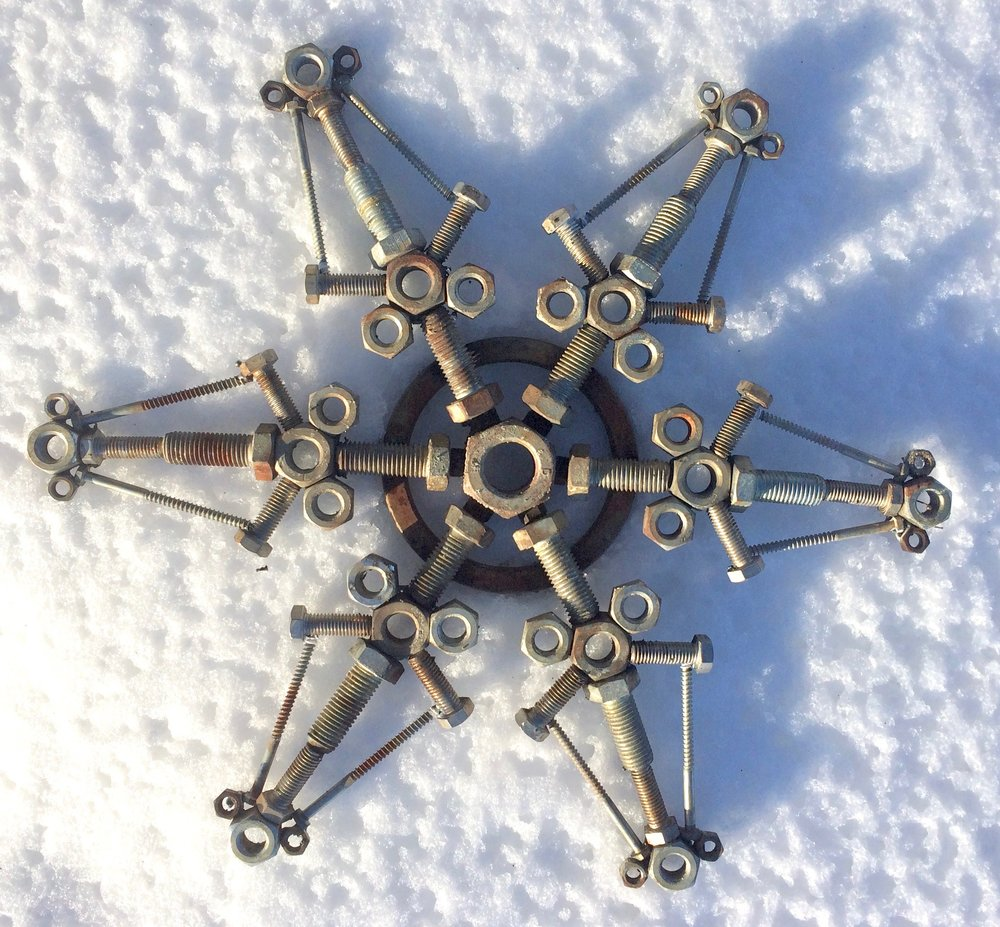 "Bolt Snowflake 12"" x 12""  Welded steel fasteners"