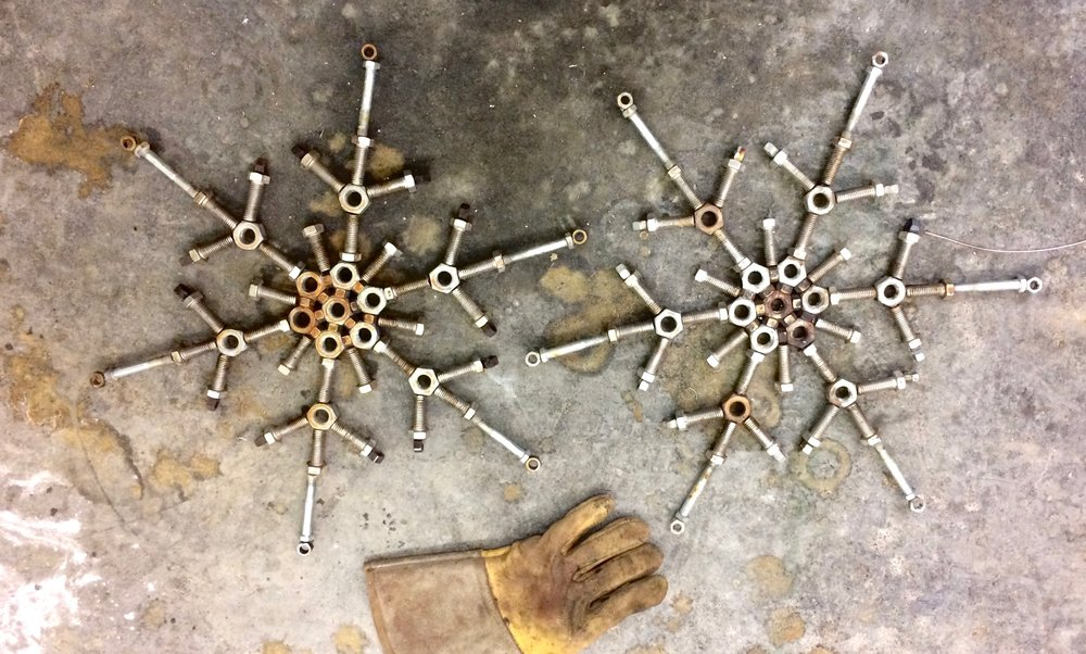"Bolt Snowflakes  12"" x 12""  Welded steel fasteners"