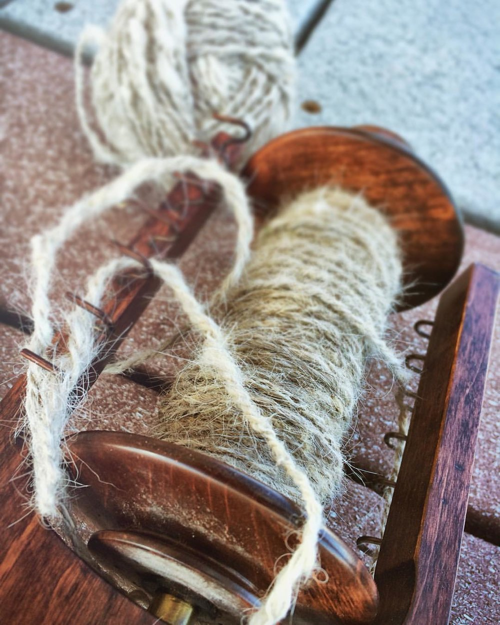 Spun horsehair in preparation for hay sculptures