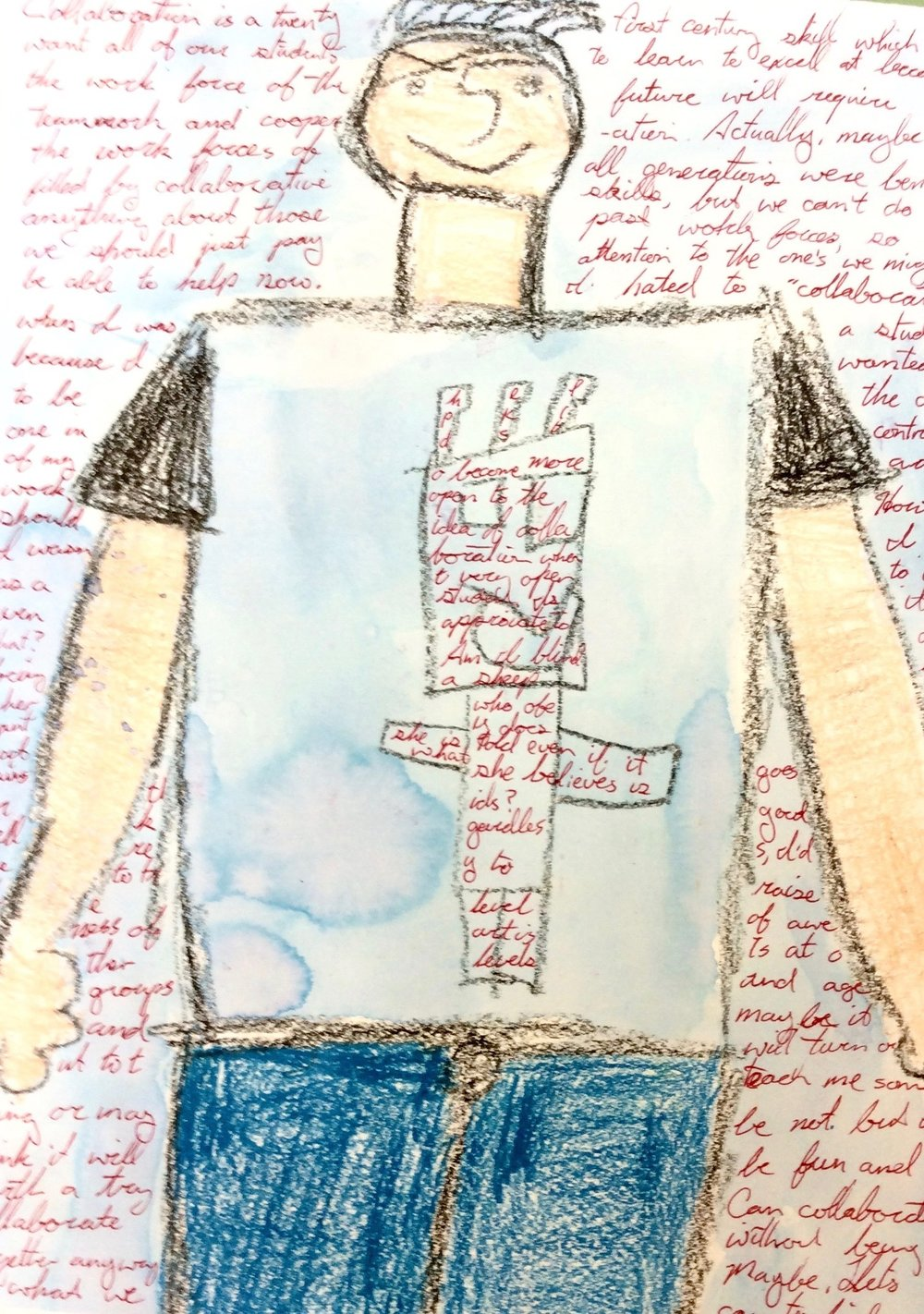Wonderings on Third Grade Guy My work into and over discarded student drawing
