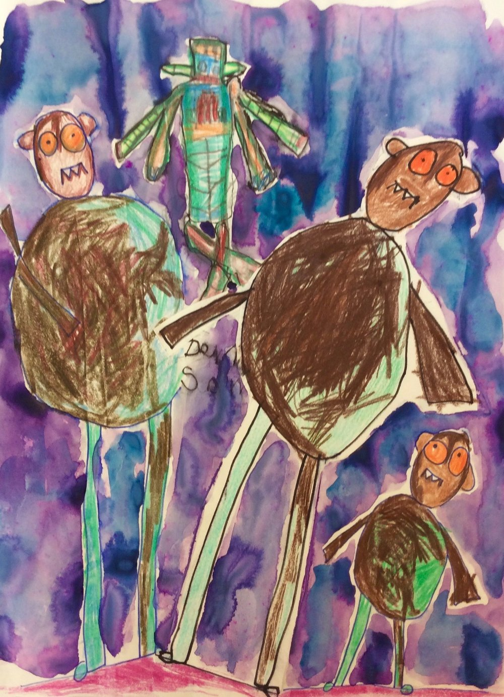 Duplicating Kindergarten Monster Drawing and collage with discarded student drawing