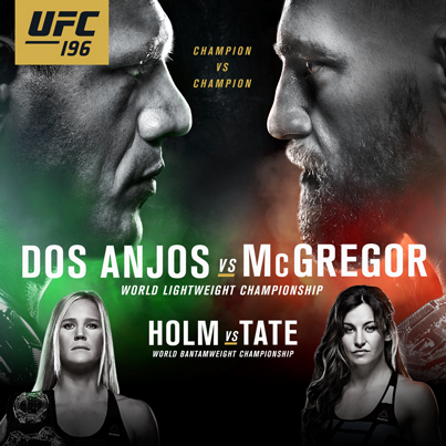 UFC 196- THE BIG FIGHT | SUNDAY, MARCH 6 DOS ANJOS Vs McGREGOR + HOLM Vs TATE ----------- Live Coverage from 12pm (Big fight is 2pm) $5 Drink Specials (with SJs student card) $10 BIstro Specials Watch it LIVE on our MEGA screen...only at SJs