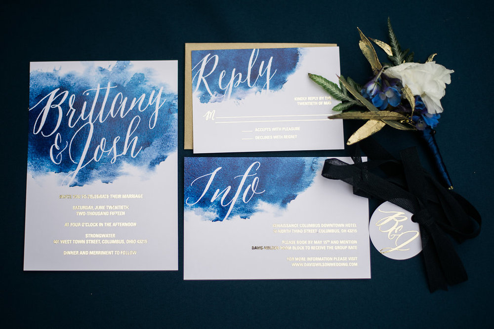 blue watercolor and gold foil wedding invitation