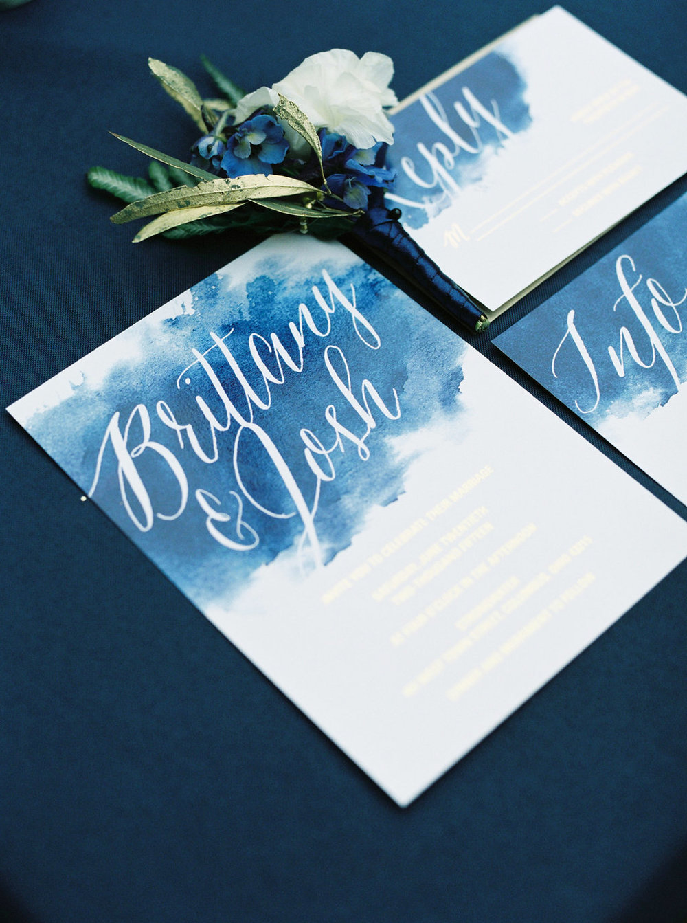 blue watercolor wedding invitations
