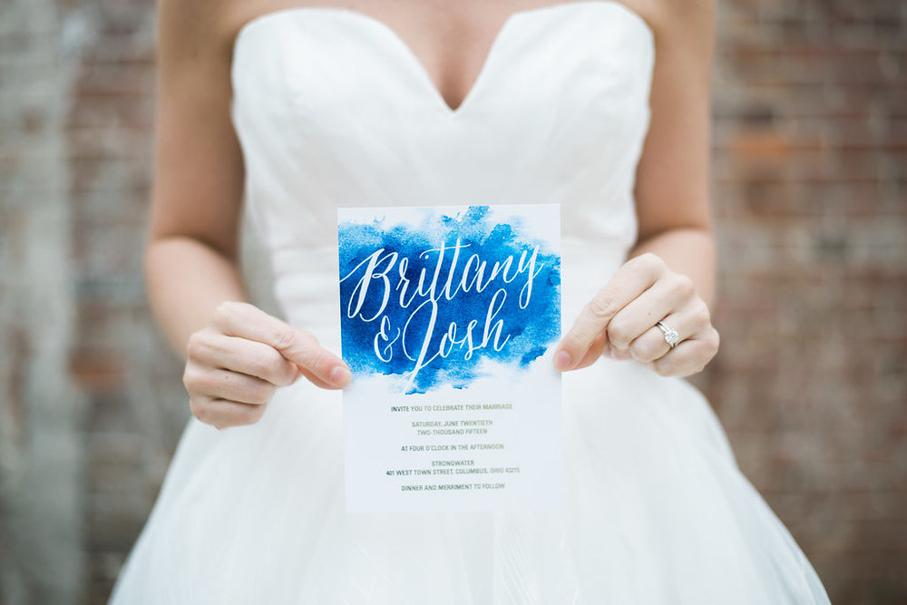 blue watercolor wedding inviations