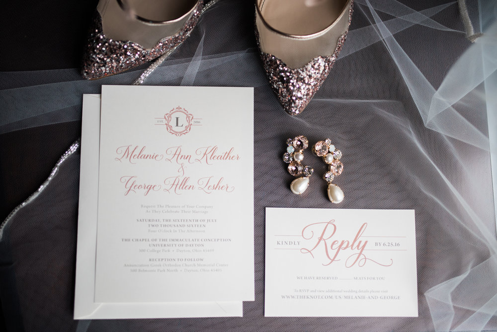 Blush and ivory wedding invitations