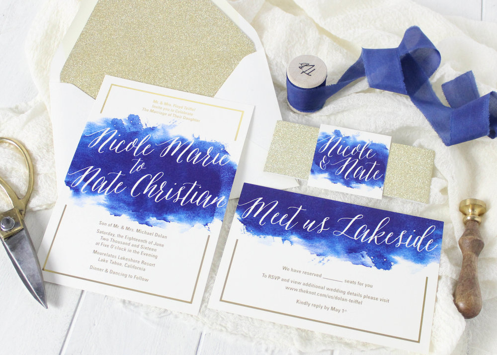Gold and blue watercolor invitations