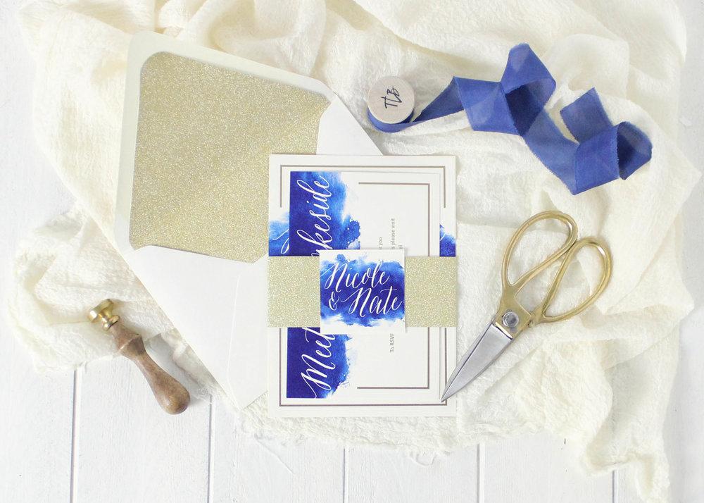 Gold foil watercolor wedding invitations