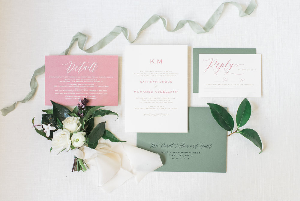 Dusty Rose Garden Wedding Invitation Suite