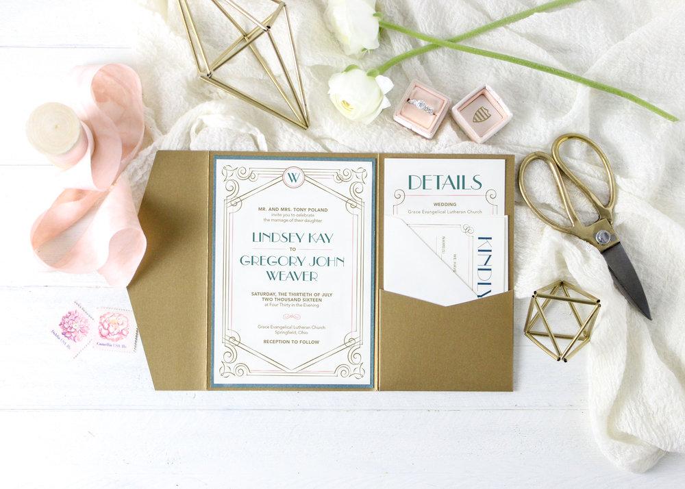 Gold and Blush Pocket Folder Invitation