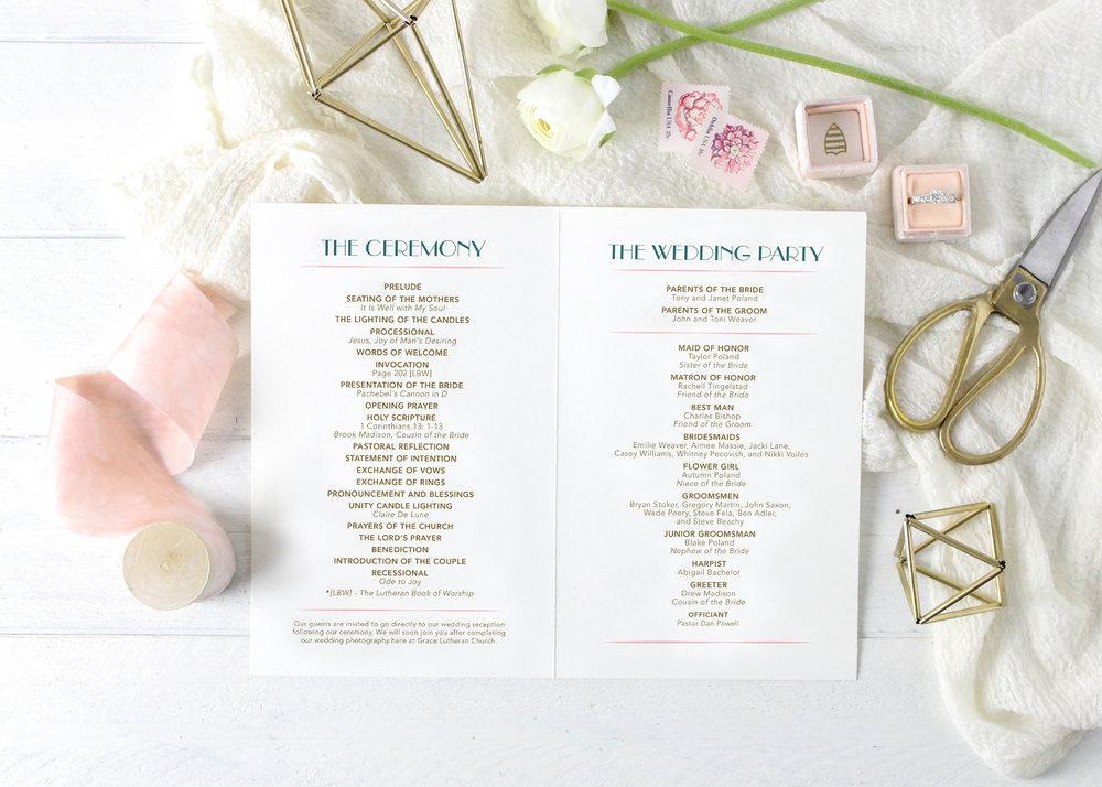 Art Deco Wedding Program
