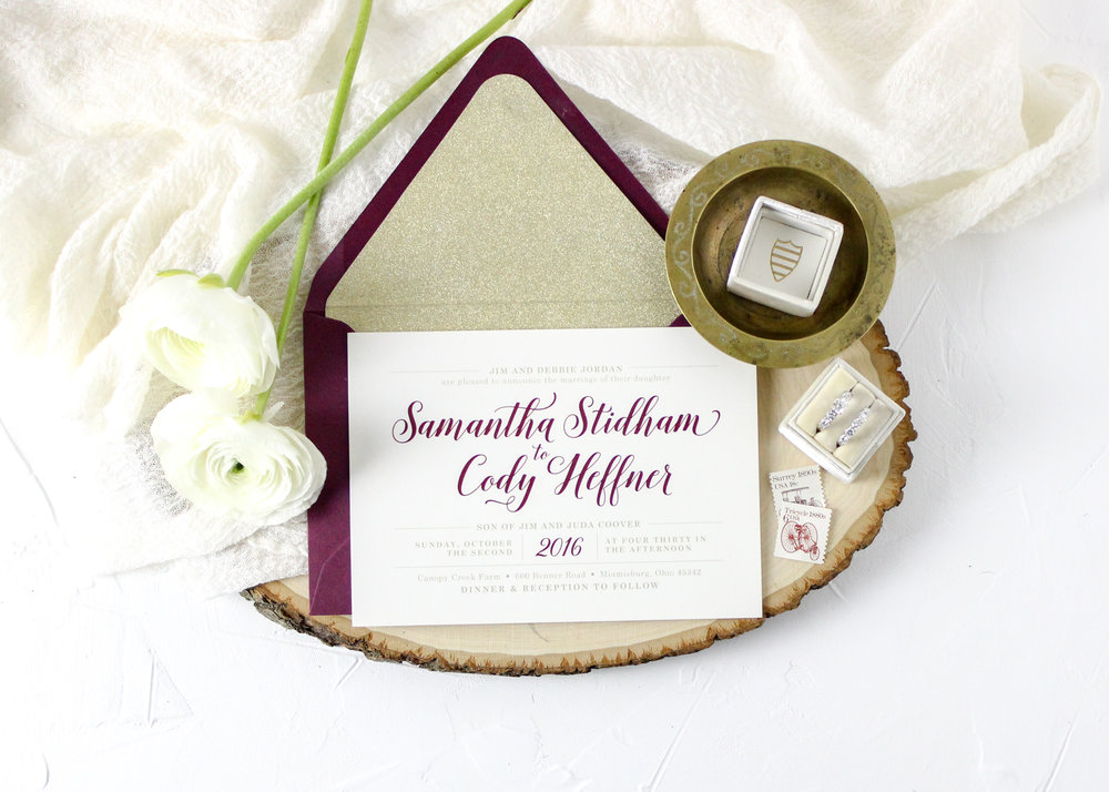 Gold and Burgundy Wedding Invitation Suite