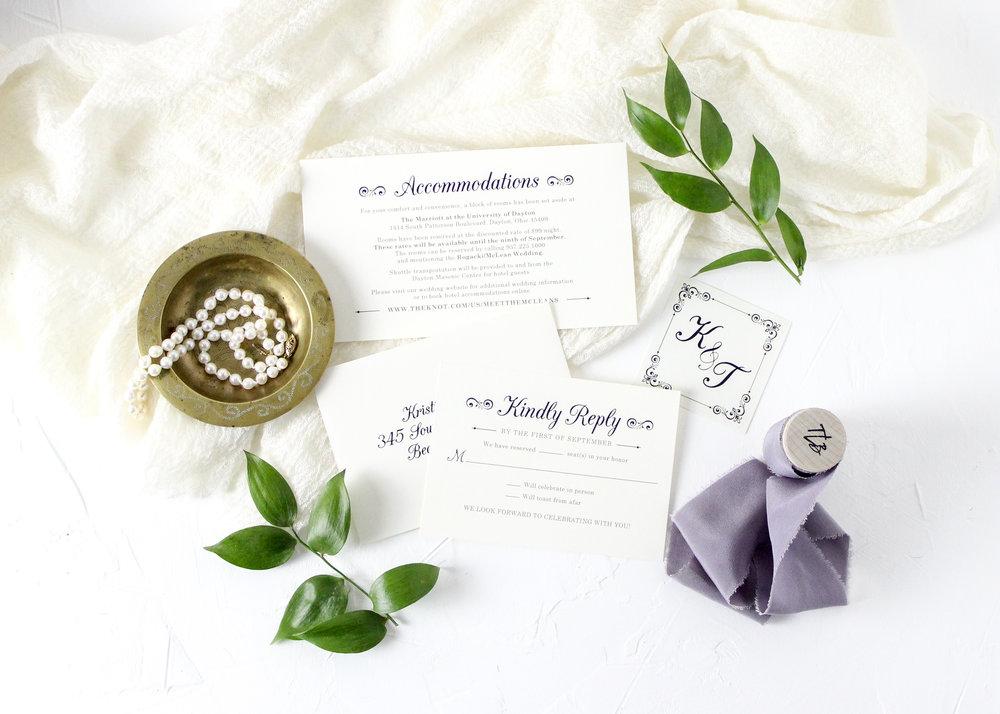Purple and Sage Wedding Invitations