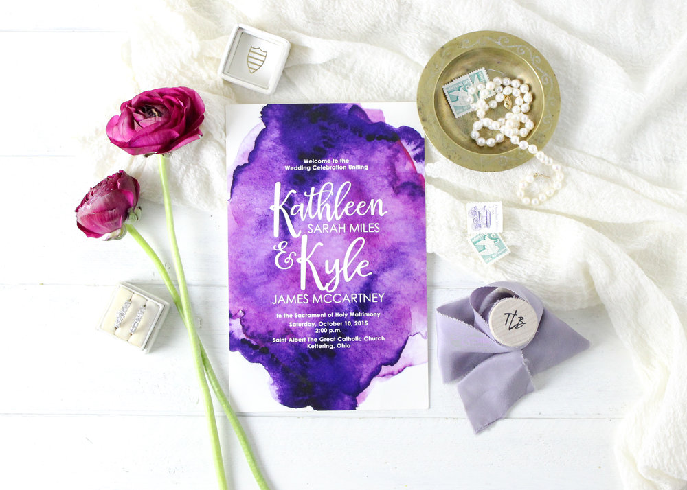 Purple Watercolor Wedding Ceremony Program
