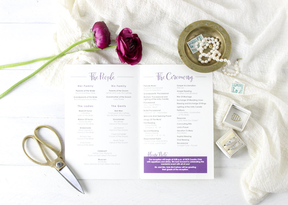 Purple Church Wedding Ceremony Program