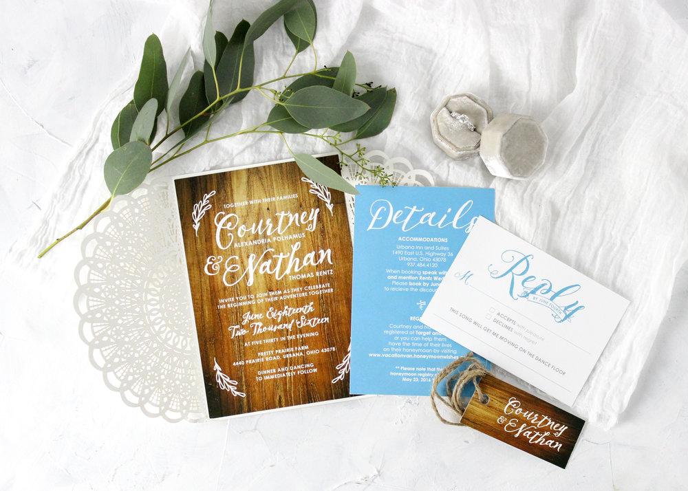 Rustic Lasercut wedding Invitations