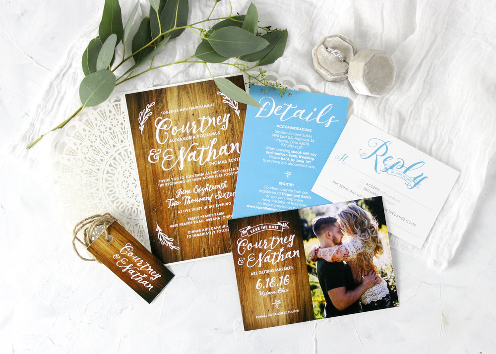 Wood Lasercut Wedding Stationery