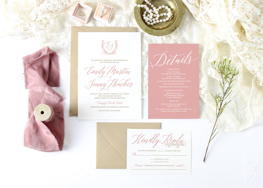Rustic Blush and Gold Wedding Invitation
