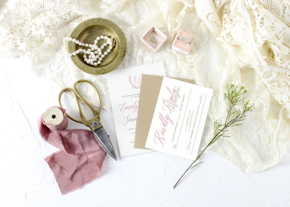 Gold Glitter Rustic Wedding Invitation Suite