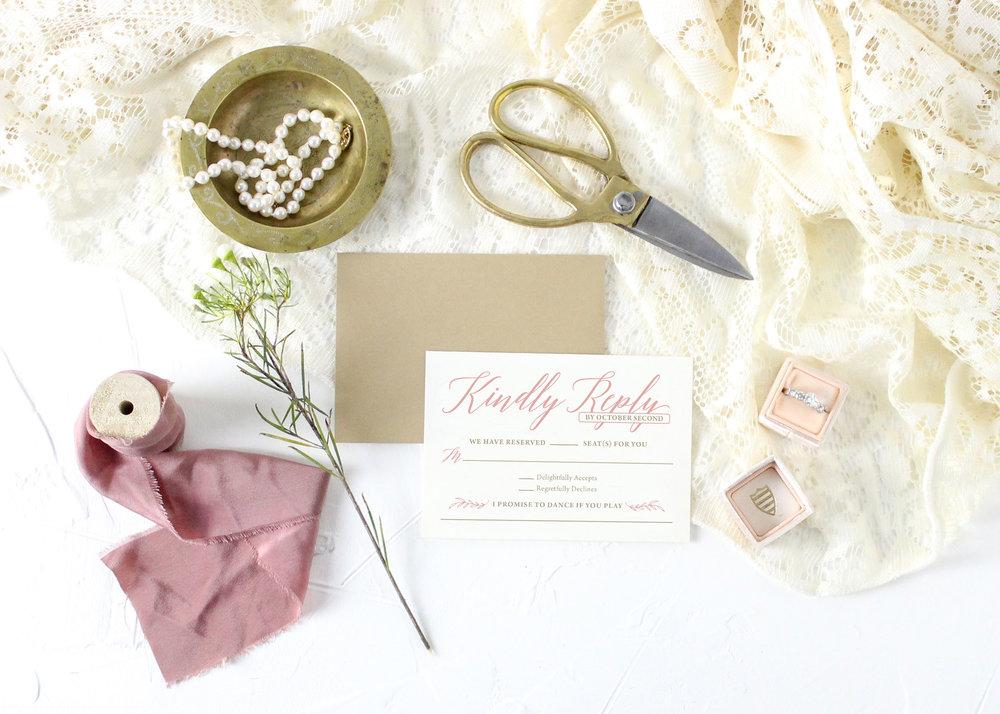 Blush Rustic Wedding Invitations