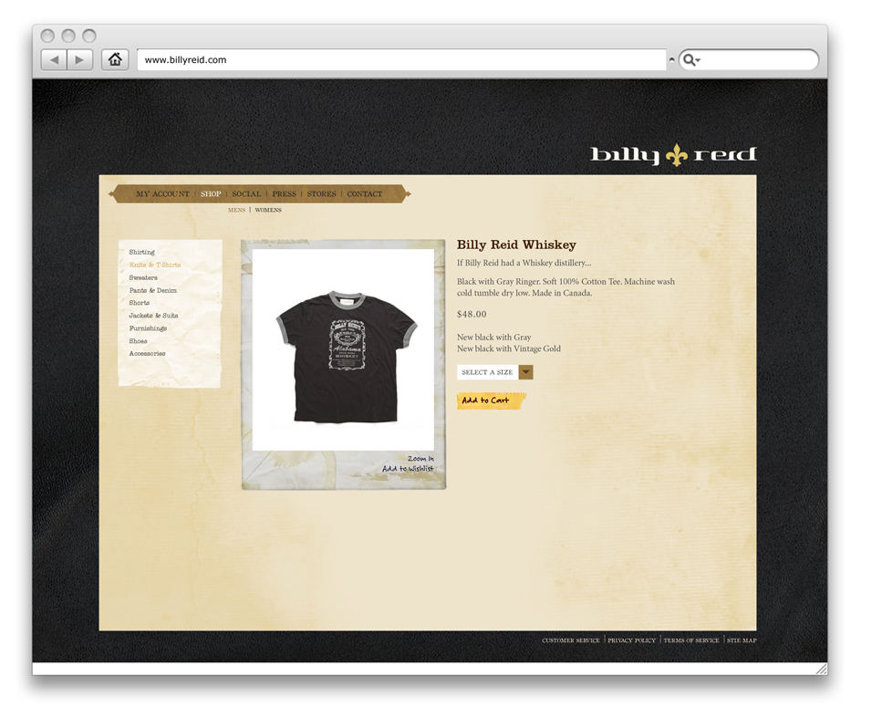 BILLY REID SITE DESIGN - PRODUCT PAGE