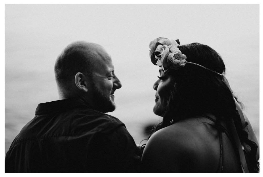 bride groom in love look portrait engagement whytecliff park