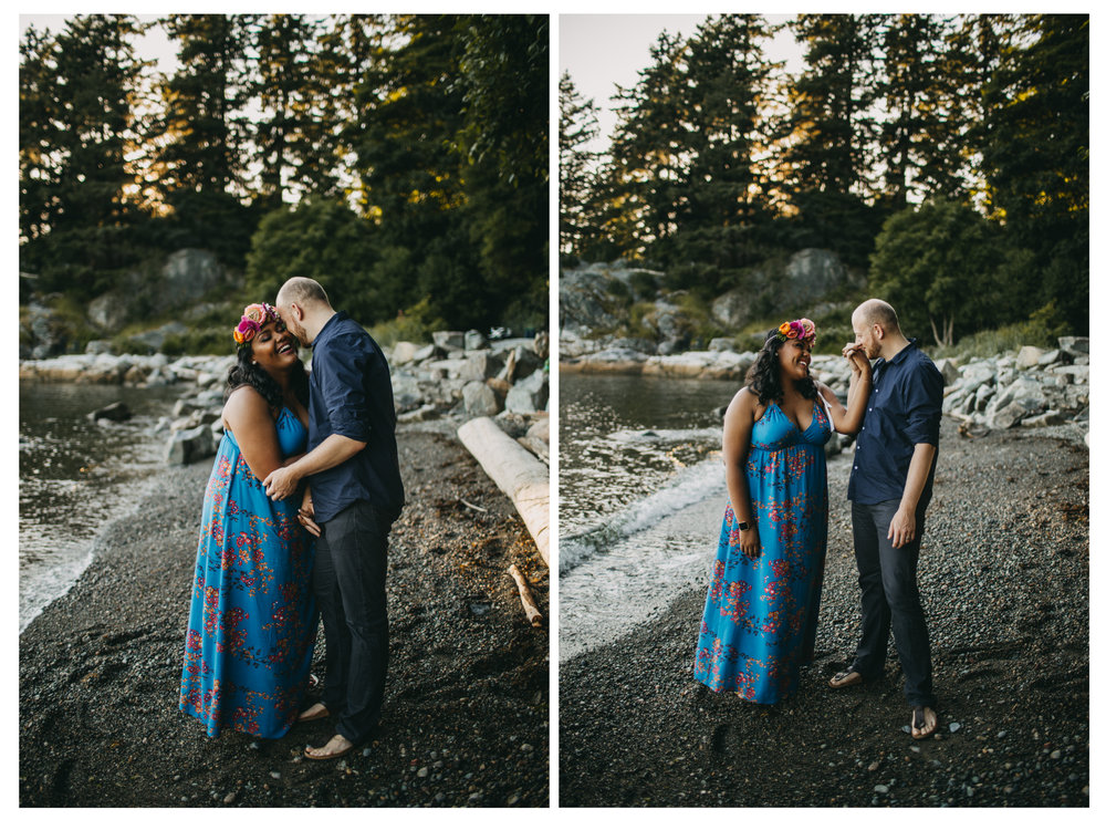 bride groom beach sunset holding hands hug engagement whytecliff park