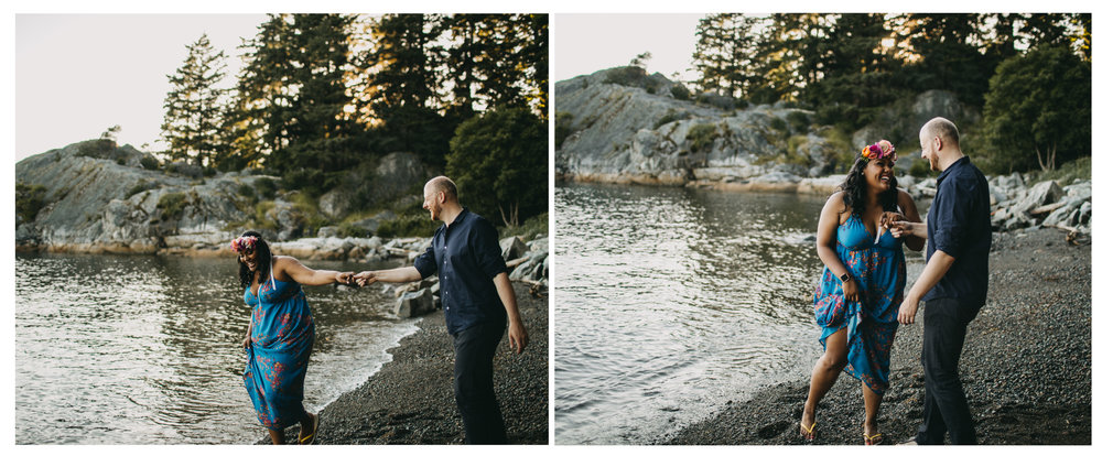 couple playful beach walk sunset engagement whytecliff park