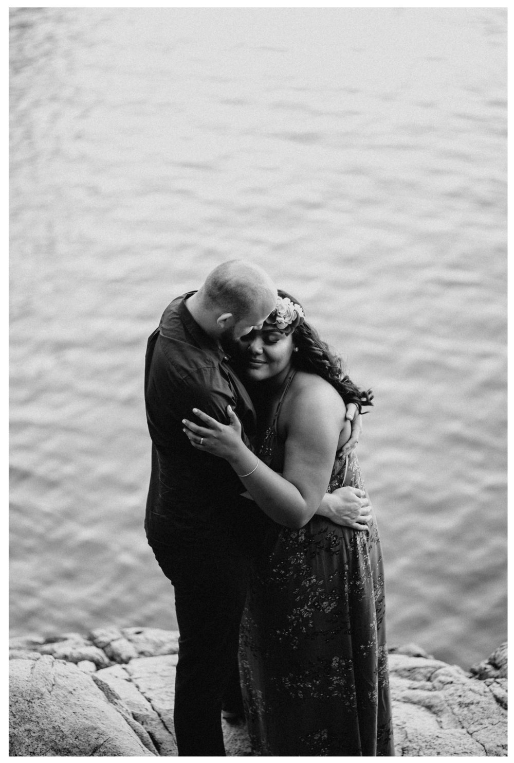 hug bride groom couple portrait engagement whytecliff park