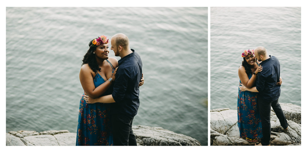 rock water beach sunset bride groom portrait engagement whytecliff park