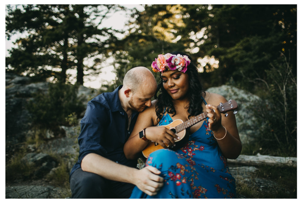 ukulele sunset beach engagement whytecliff park bride groom kiss