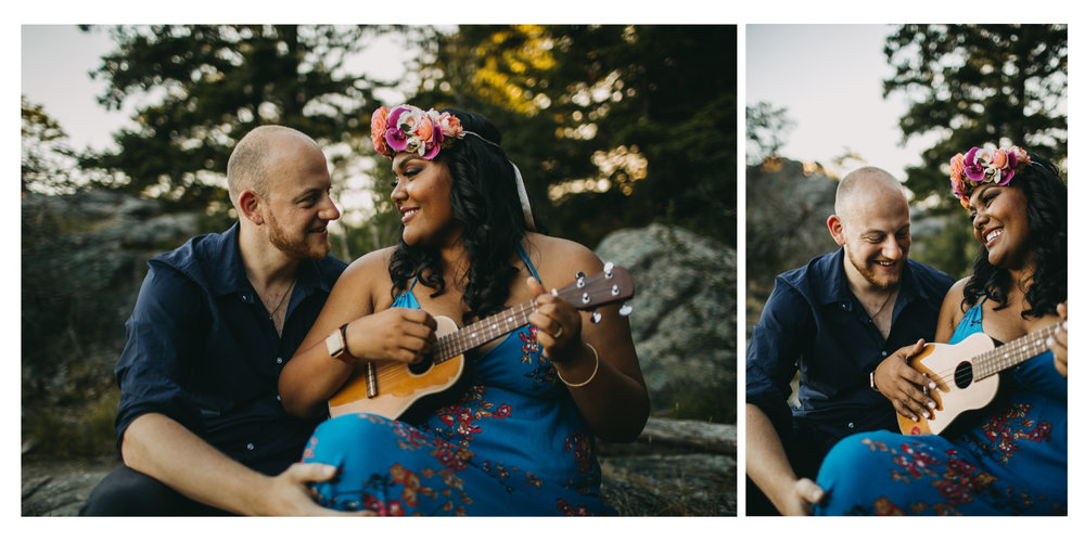 couple laugh ukulele sunset beach trees engagement whytecliff park