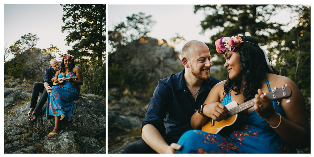 smiling couple ukulele engagement whytecliff park love