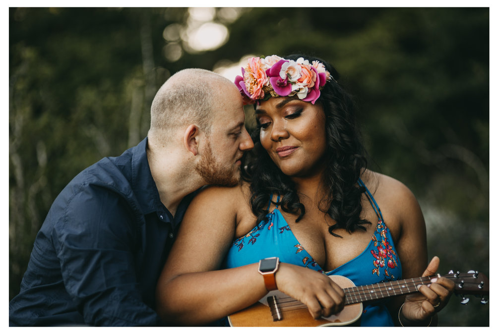 engagement bride groom cry tears ukulele sunset whytecliff park