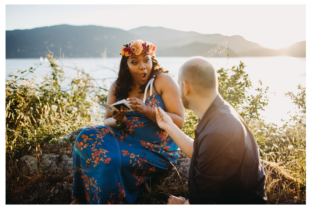 surprise proposal engagement whytecliff park bride groom