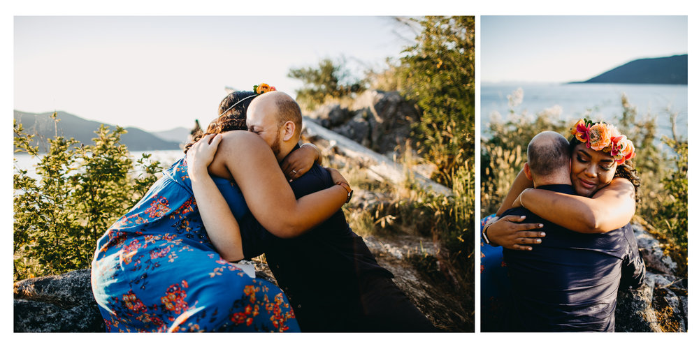 couple hug engaged engagement proposal whytecliff park